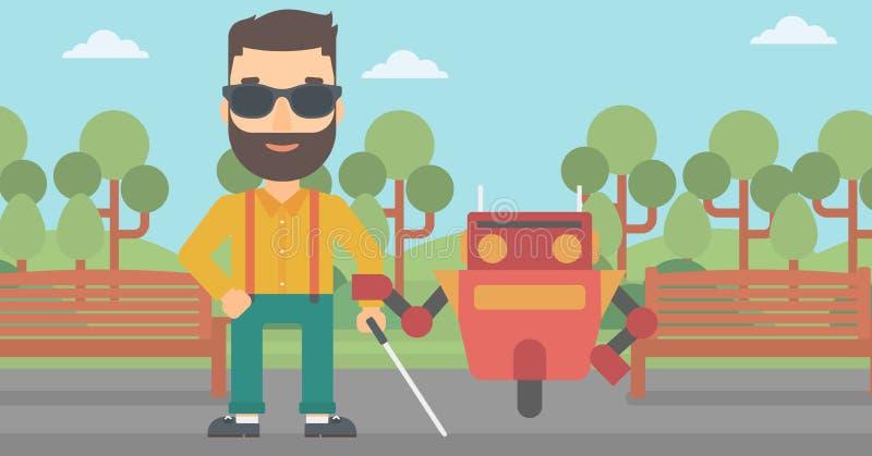 Robotassistent som hjälper den caucasian blinda mannen stock illustrationer