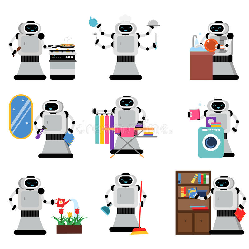 Robotassistenter som hjälper folk i hushållsarbetearbetsuppgifter, ställde in, illustrationer för konstgjord intelligens vektor illustrationer