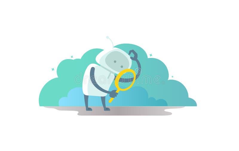 Robotastronaut met meer magnifier in hand zoekend iets En krassen zijn hoofd royalty-vrije illustratie