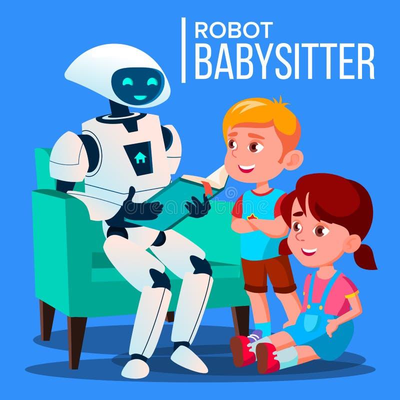 RobotBabysitterReading A bok till barnet på Sofa Vector isolerad knapphandillustration skjuta s-startkvinnan vektor illustrationer