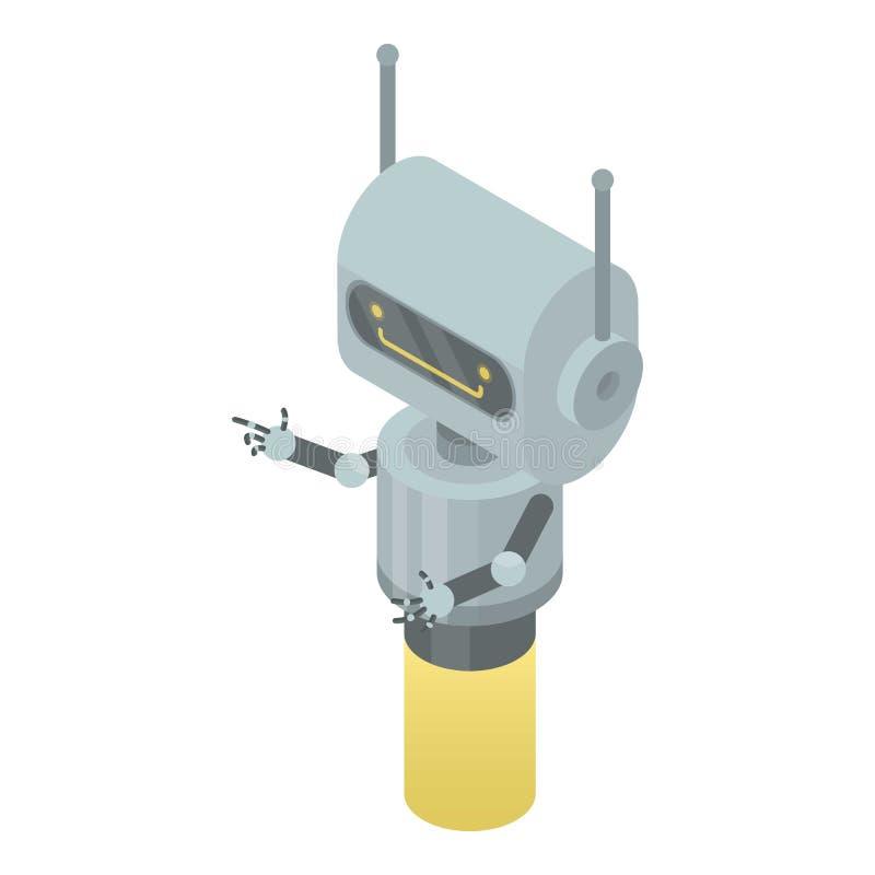 Robotchatbotsymbol, isometrisk stil vektor illustrationer