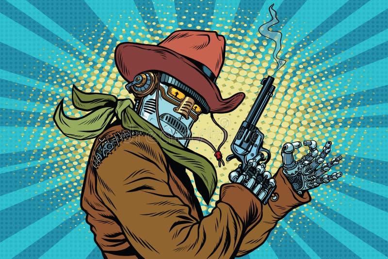 Robotcowboyvilda västern, reko gest royaltyfri illustrationer