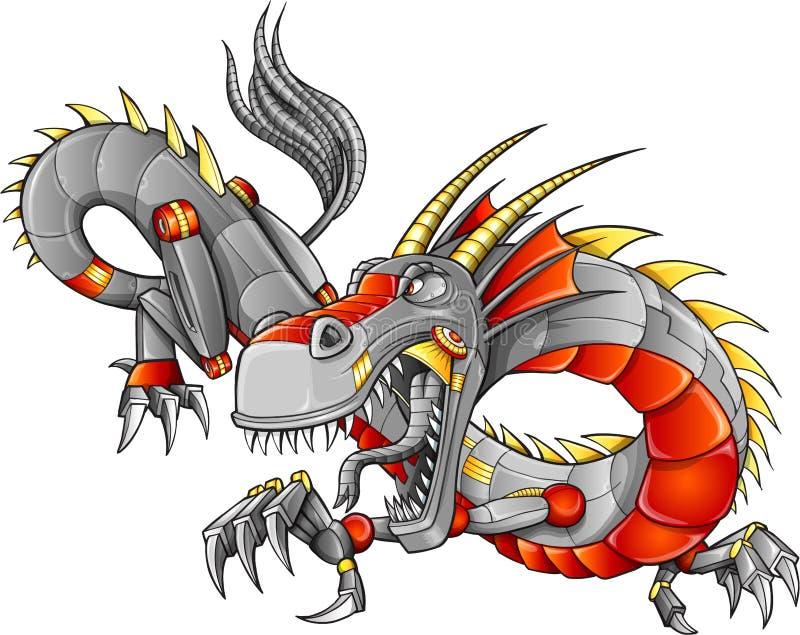RobotCyborg Dragon Vector royaltyfri illustrationer