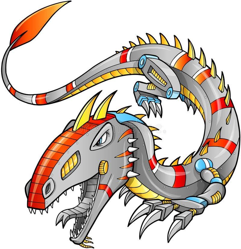 RobotCyborg Dragon Vector stock illustrationer