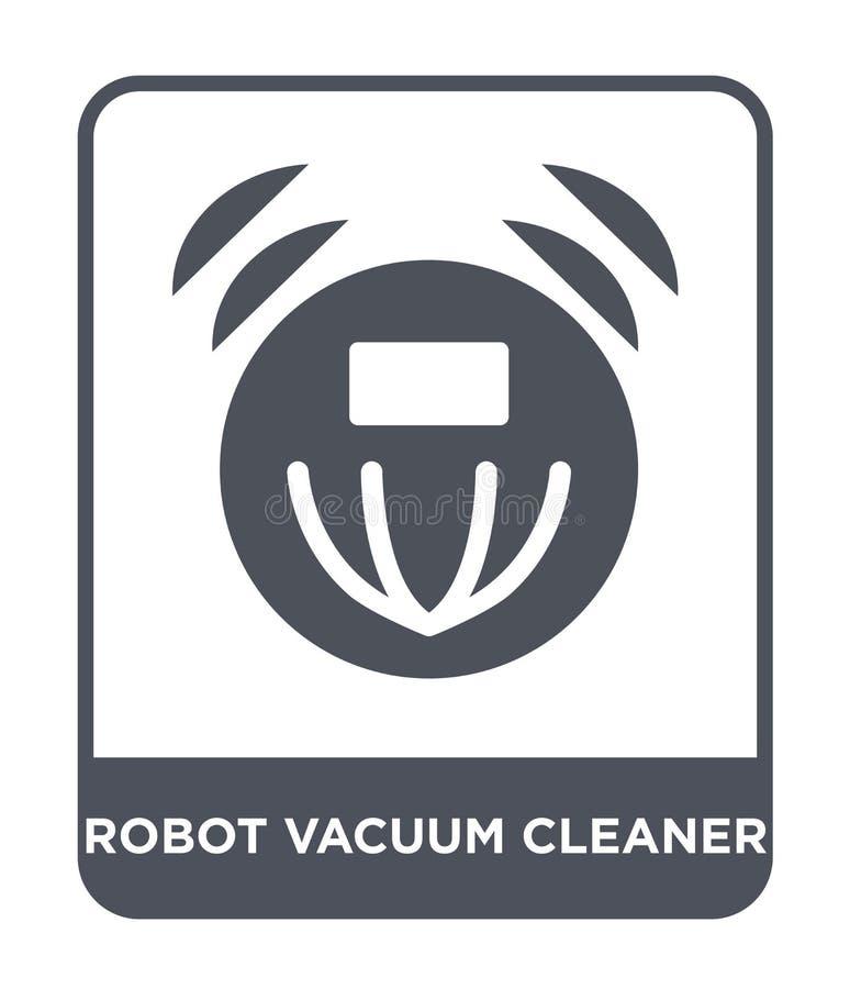 robotdammsugaresymbol i moderiktig designstil robotdammsugaresymbol som isoleras på vit bakgrund Robotdammsugare vektor illustrationer