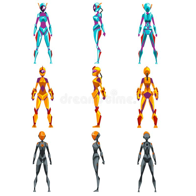 Robotdräkter ställde in, illustrationer för superherokvinnavektorn royaltyfri illustrationer