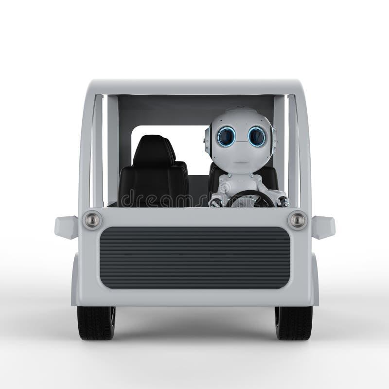 Robotdrevbuss stock illustrationer