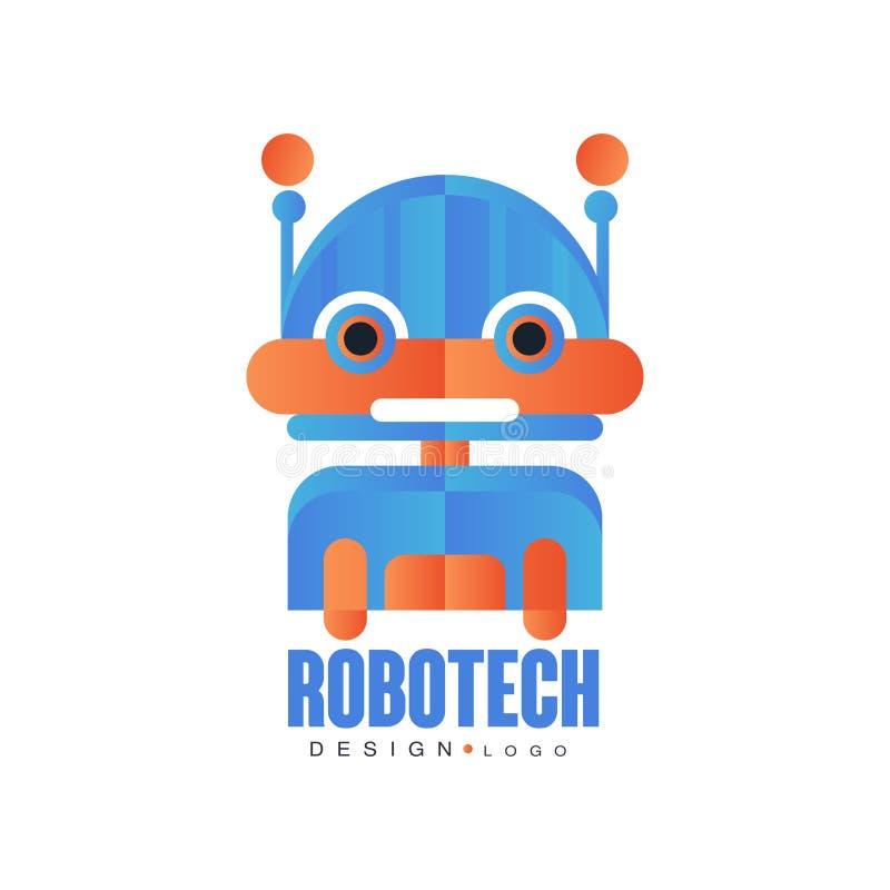 Robotech logo, odznaka z życzliwym robotem, projekta element dla firmy tożsamości, technologia lub komputer odnosić sie usługa, ilustracja wektor