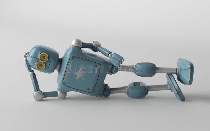 Roboten är liggande 3d, framför stock illustrationer