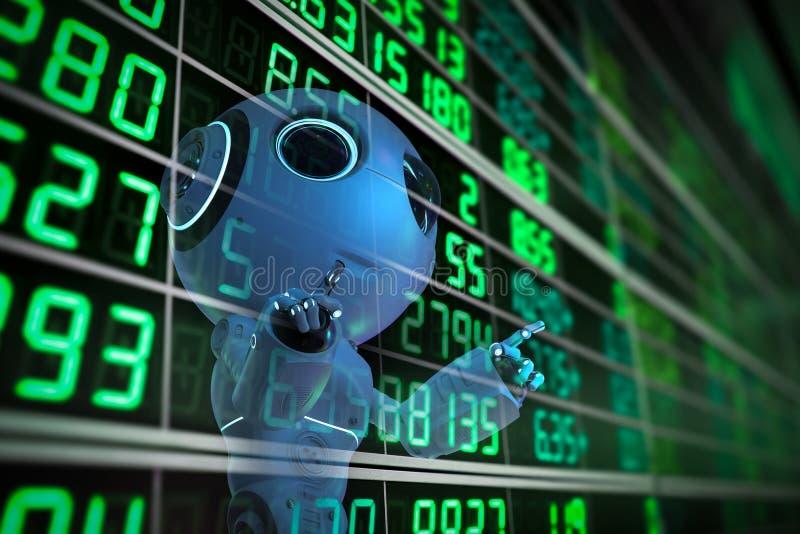 Roboten analyserar aktiemarknaden royaltyfri illustrationer