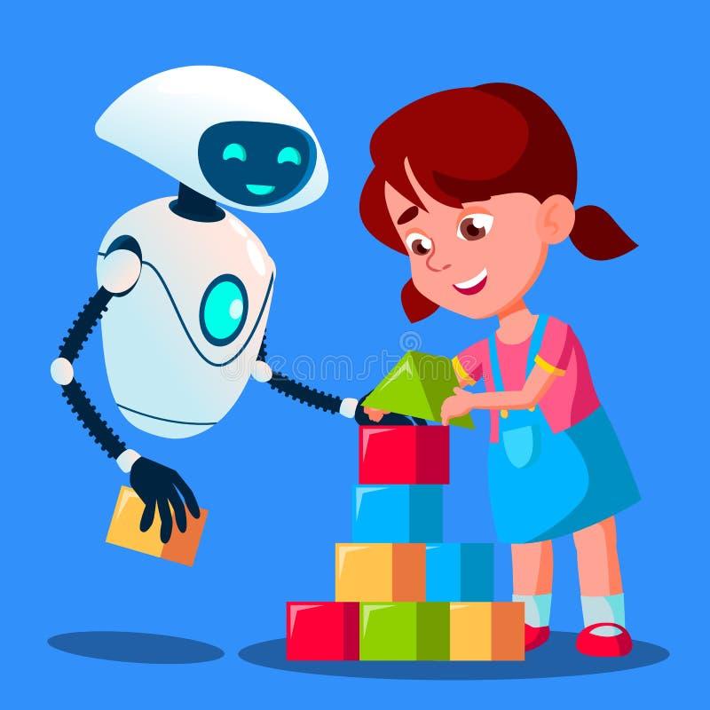 Roboten behandla som ett barn barnvakten som spelar kuber med barnvektorn isolerad knapphandillustration skjuta s-startkvinnan royaltyfri illustrationer