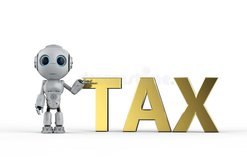 Roboten beräknar skatt royaltyfri illustrationer