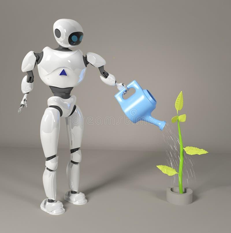 Roboten bevattnar grodden 3d, framför royaltyfri bild