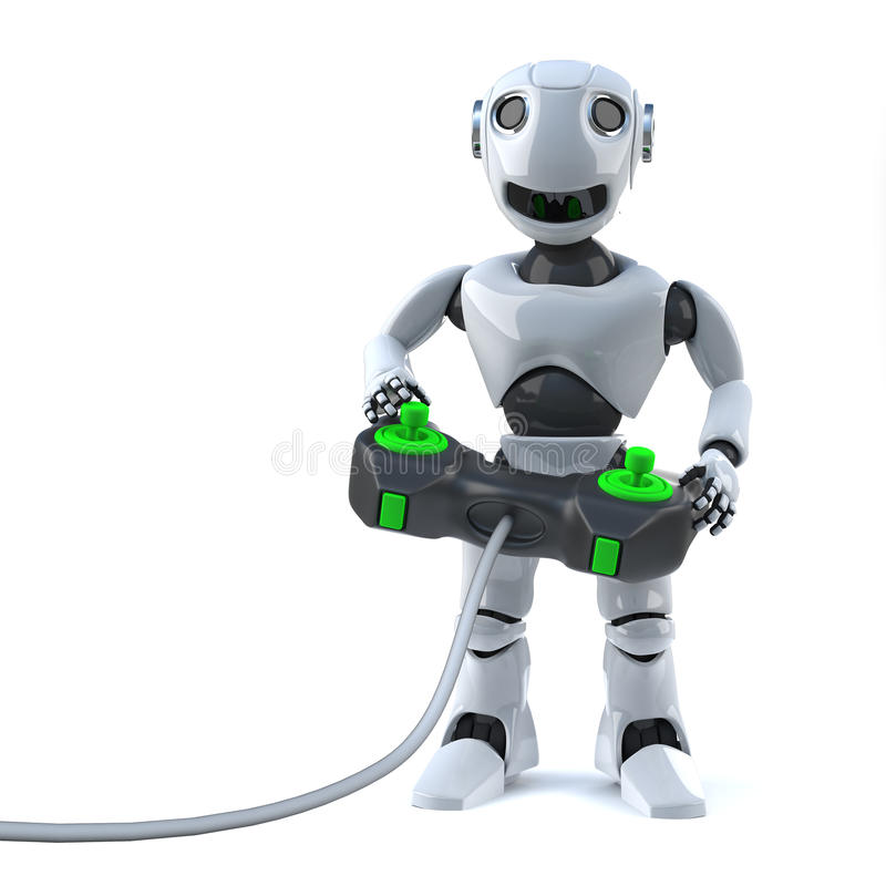 roboten 3d spelar hans videogamekonsol med en styrspakkontrollant royaltyfri illustrationer