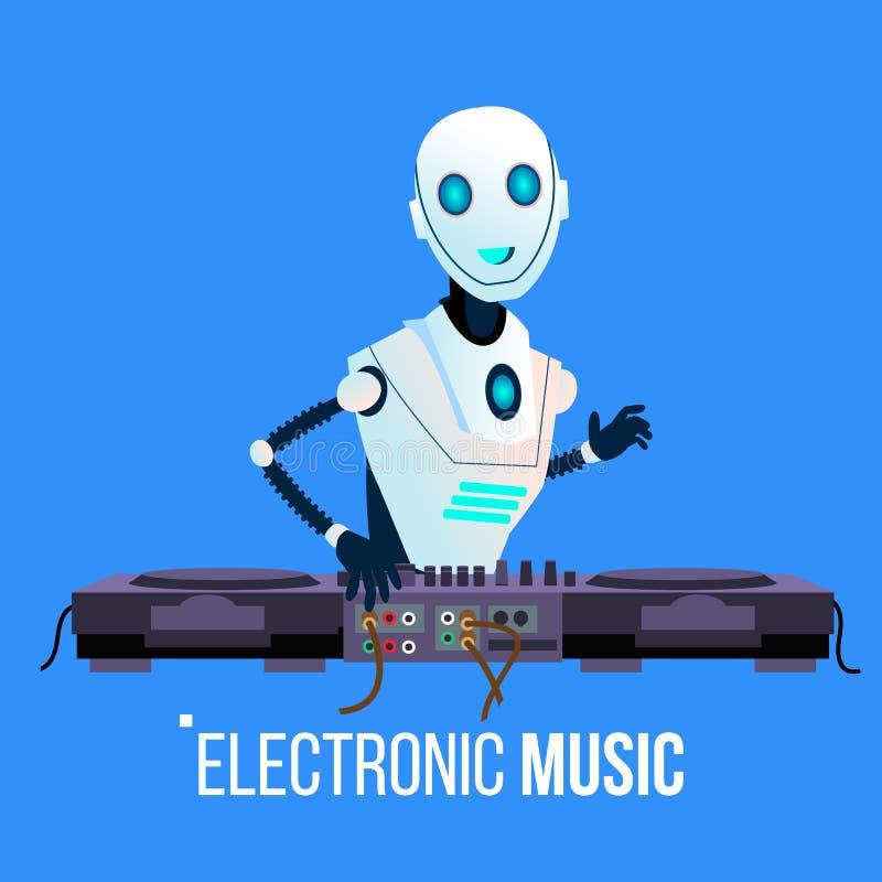 Roboten Dj leder partiet som spelar elektronisk musik i nattklubbvektor isolerad knapphandillustration skjuta s-startkvinnan royaltyfri illustrationer