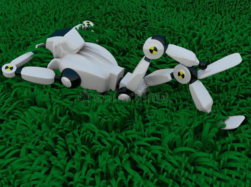 Roboten i gräset stock illustrationer