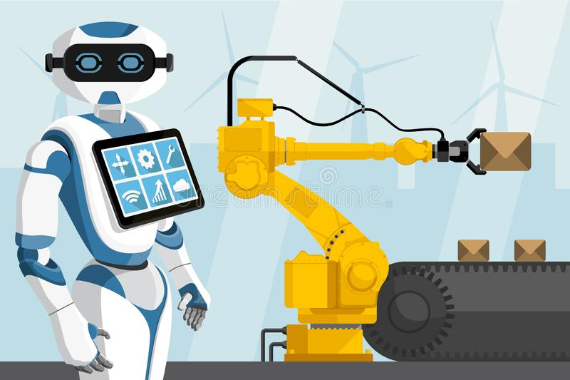 Roboten kontrollerar den behandlande roboten vektor illustrationer