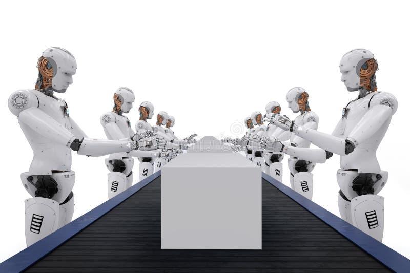 Roboten med boxas royaltyfri illustrationer