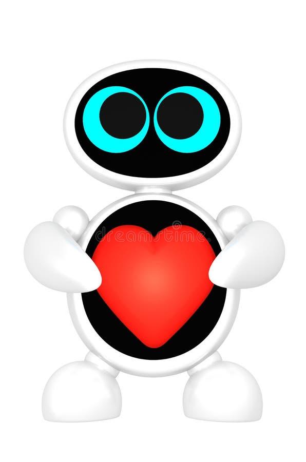 Roboten med gulliga ögon rymmer röd hjärta isolerad på vit bakgrund stock illustrationer