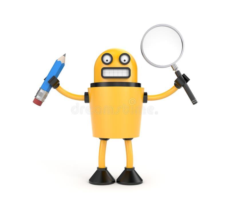 Roboten med pennan och förstorar exponeringsglas royaltyfri illustrationer