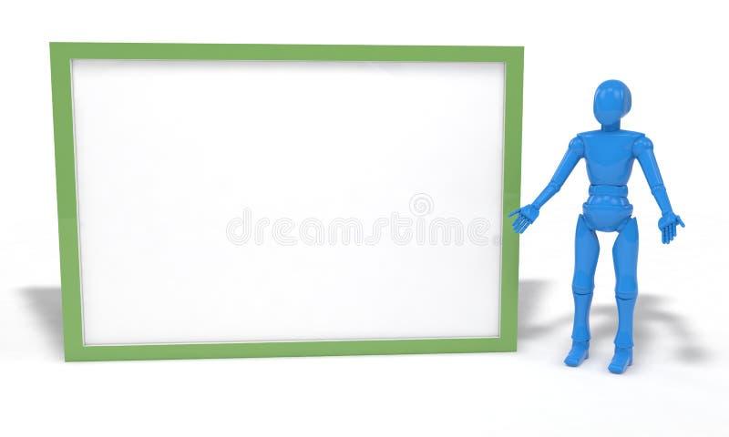 Roboten och gulingfremaen på vit, 3d framför vektor illustrationer