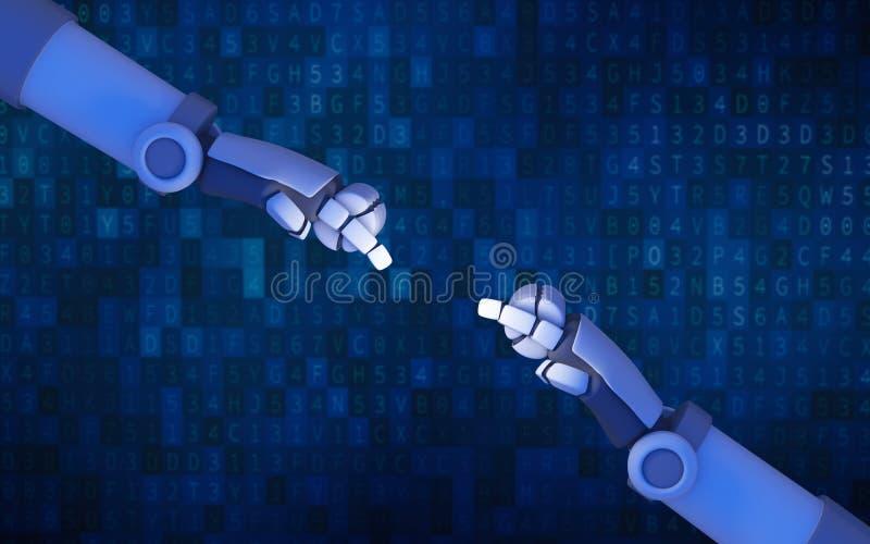 Roboten räcker att peka till varandra på blåa lodisar för datordatakod stock illustrationer