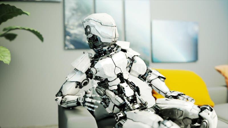 Roboten sitter på soffan relax Begrepp av framtid framförande 3d vektor illustrationer