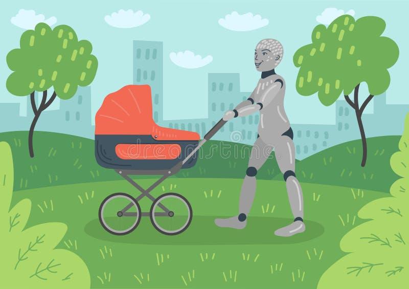 Roboten som går med barnvagn i, parkerar royaltyfri illustrationer