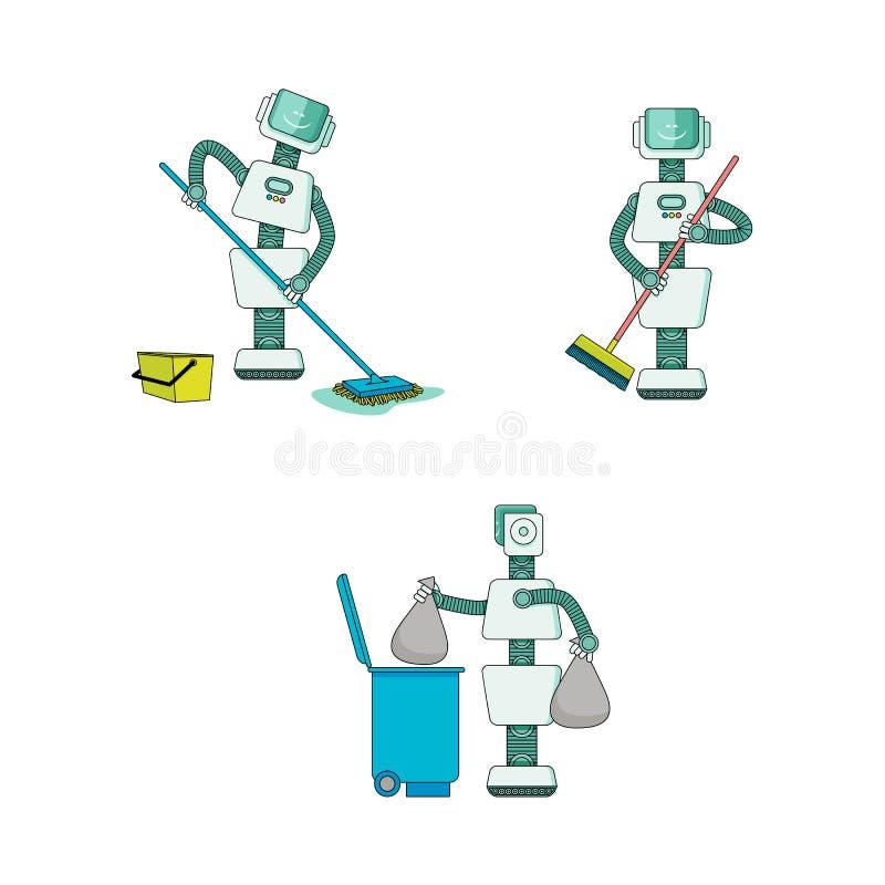 Roboten som gör hushållsarbetesamlingen - androidrengöringhus, sopar, och washesgolvet, tar ut avfall royaltyfri illustrationer