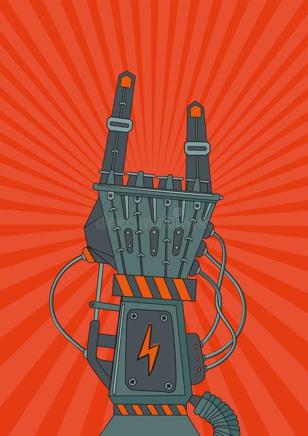 Roboten vaggar Retro musikaffisch med den metalliska robothanden royaltyfri illustrationer