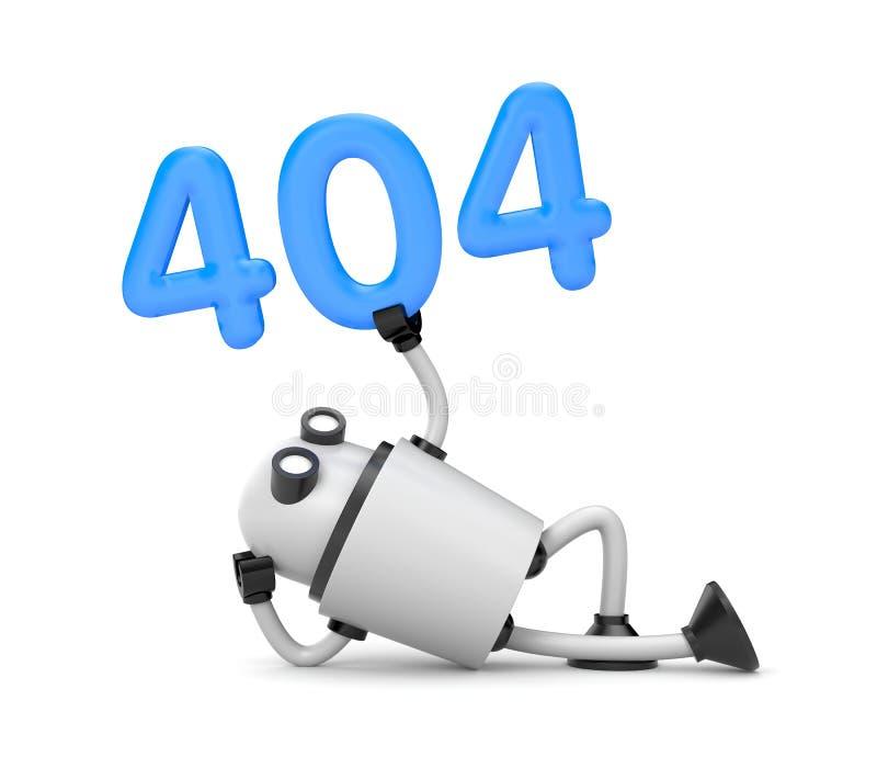 Roboten vilar och rymma numren 404 - söka inte funnit fel 404 royaltyfri illustrationer