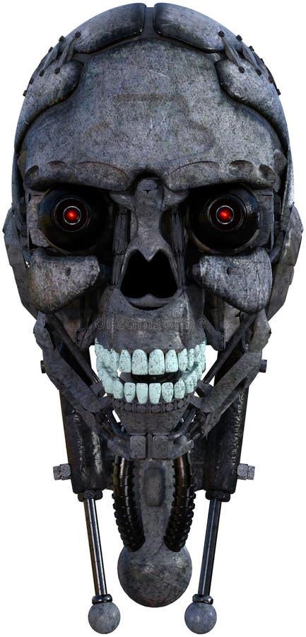 Roboter-Android-Cyborg-Kopf lokalisiert stockfotos