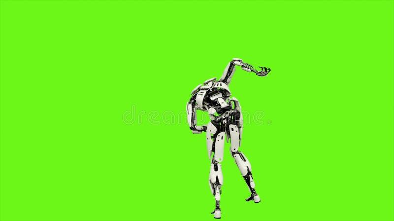 Roboter Android ist Shows Ihre kämpfenden Fähigkeiten Realistische Bewegung auf grünem Schirm Wiedergabe 3d vektor abbildung