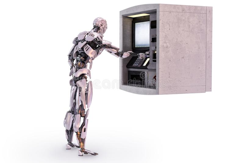 Roboter android unter Verwendung eines Geldautomaten für Barabhebung Abbildung 3D stock abbildung