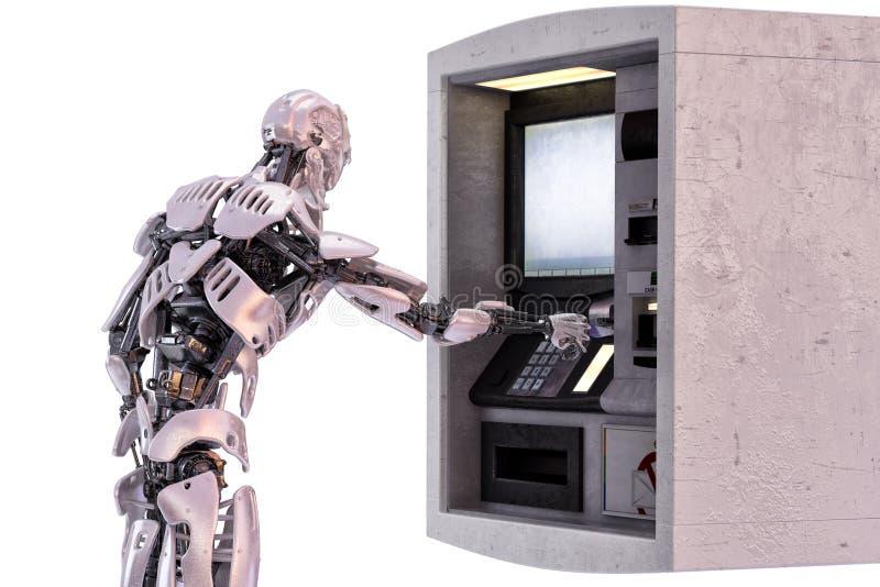 Roboter android unter Verwendung eines Geldautomaten für Barabhebung Abbildung 3D lizenzfreie abbildung