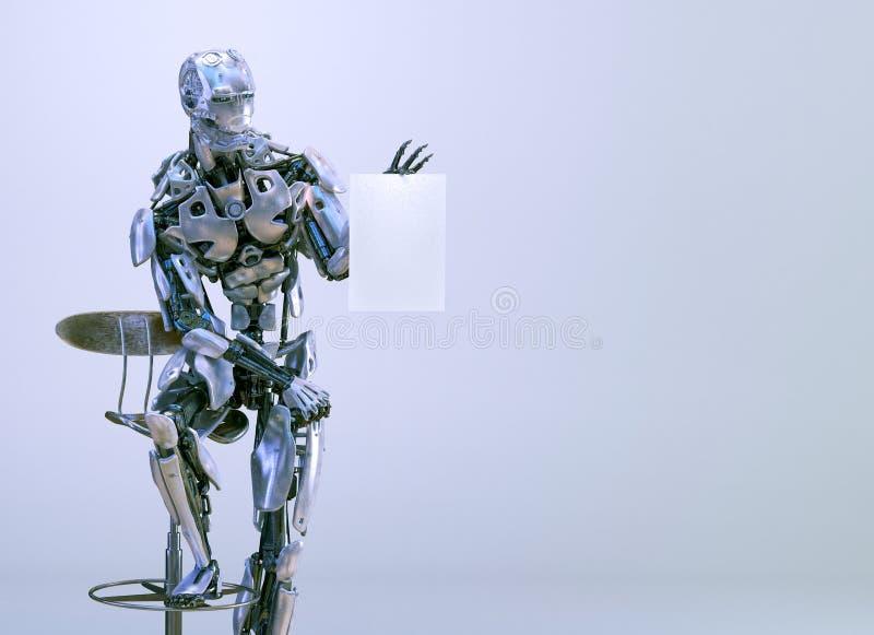 Roboter androider Cyborgmann, sitzend auf Stuhl und halten Modellblatt des leeren Papiers Abbildung 3D stock abbildung