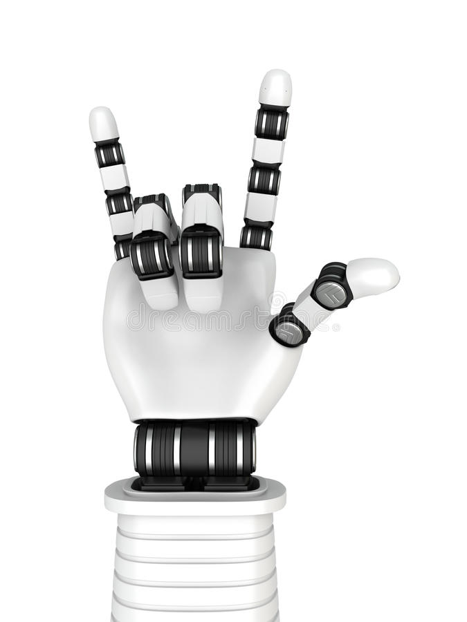 Roboter-Arm-Handrockmusik-Gestikulieren lizenzfreie abbildung