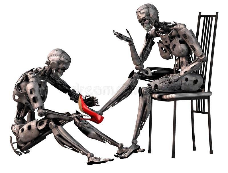 Roboter Aschenputtel, androider Mann versucht einen roten Schuh des hohen Absatzes im Fuß einer androiden Frau, Illustration 3d vektor abbildung