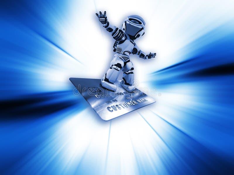 Roboter auf Kreditkarte stock abbildung