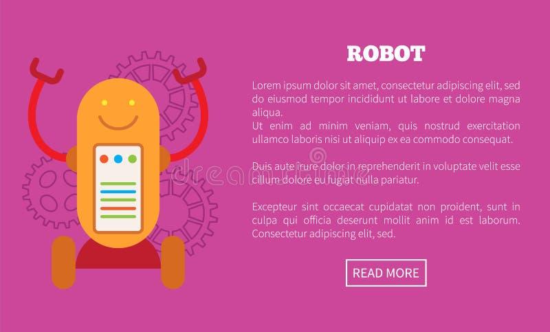Roboter auf Rädern mit Schirm und Glieder Promo-Plakat vektor abbildung