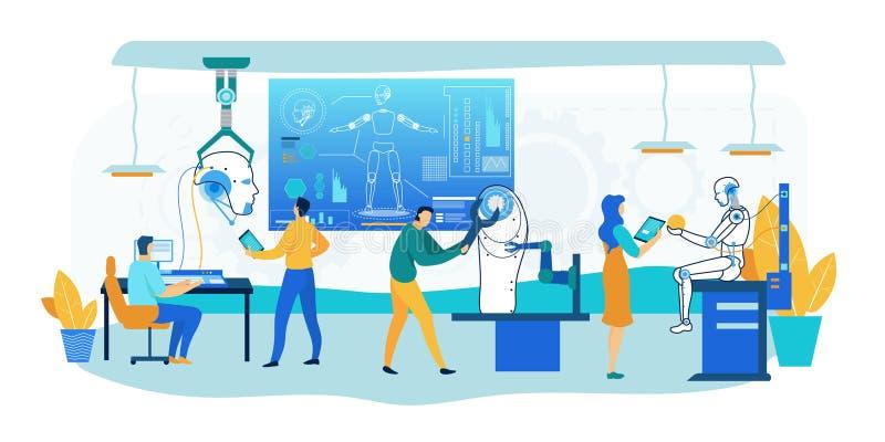 Roboter-Bautechnologie Humanoid Konstruktionsbüro vektor abbildung