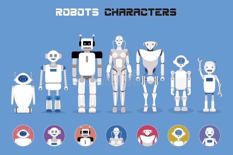 Roboter-Charaktere lizenzfreie abbildung