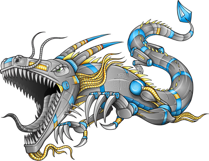 Roboter Cyborg Dragon Vector vektor abbildung
