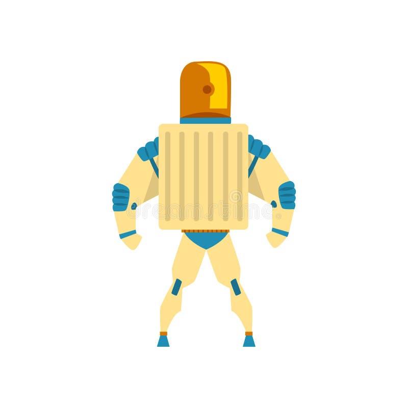 Roboter, Cyborg, Superheldkostüm, hintere Ansichtvektor Illustration auf einem weißen Hintergrund stock abbildung