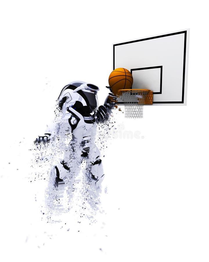 Roboter 3D, der Basketball spielt vektor abbildung