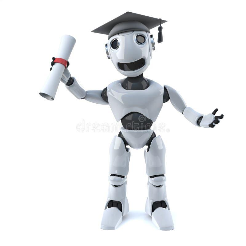 Roboter 3d graduiert mit einem Diplom lizenzfreie abbildung