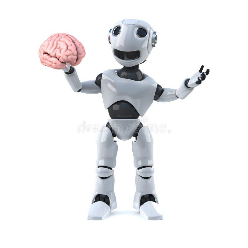 Roboter 3d hat ein Gehirn vektor abbildung