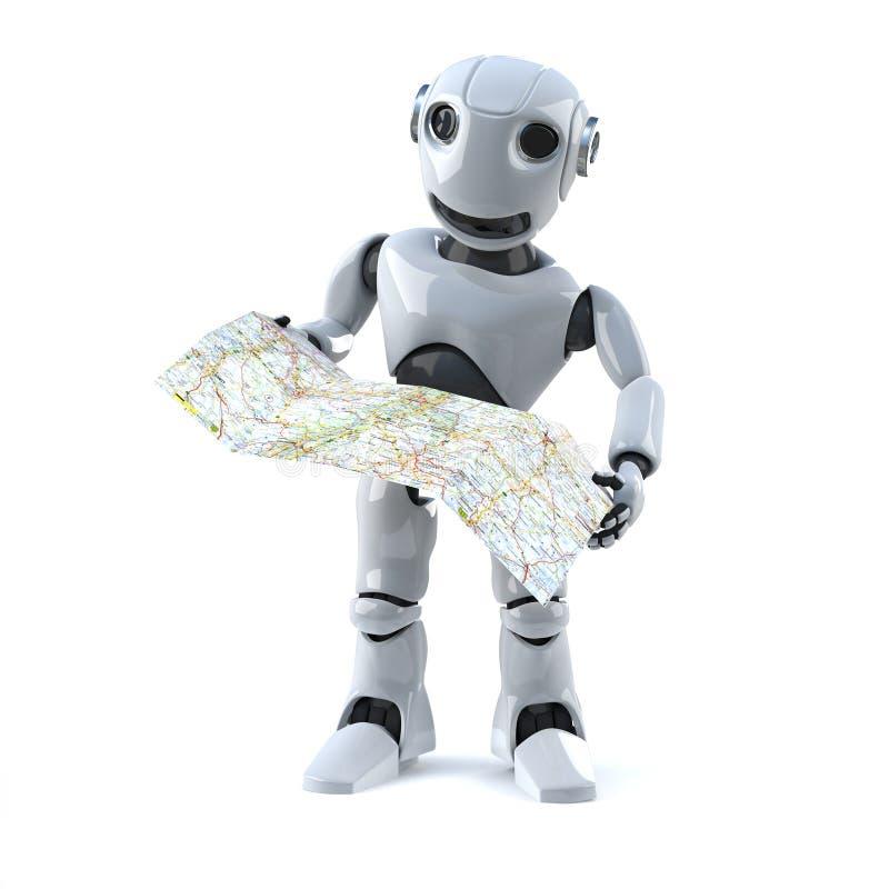 Roboter 3d navigiert unter Verwendung einer Karte lizenzfreie abbildung