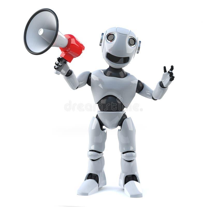 Roboter 3d unter Verwendung eines Megaphons, zum einer Mitteilung zu machen lizenzfreie abbildung