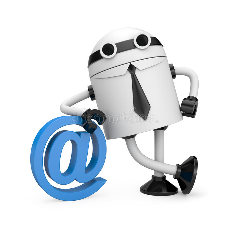 Roboter, der auf einem eMail-Symbol sich lehnt lizenzfreie abbildung